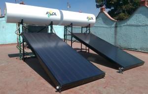 2 calentadores solares planos de 170L conectados en paralelo