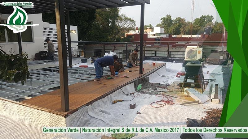 Colocación de dren en azotea verde