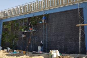 Jardín Vertical EMI etapa de plantado